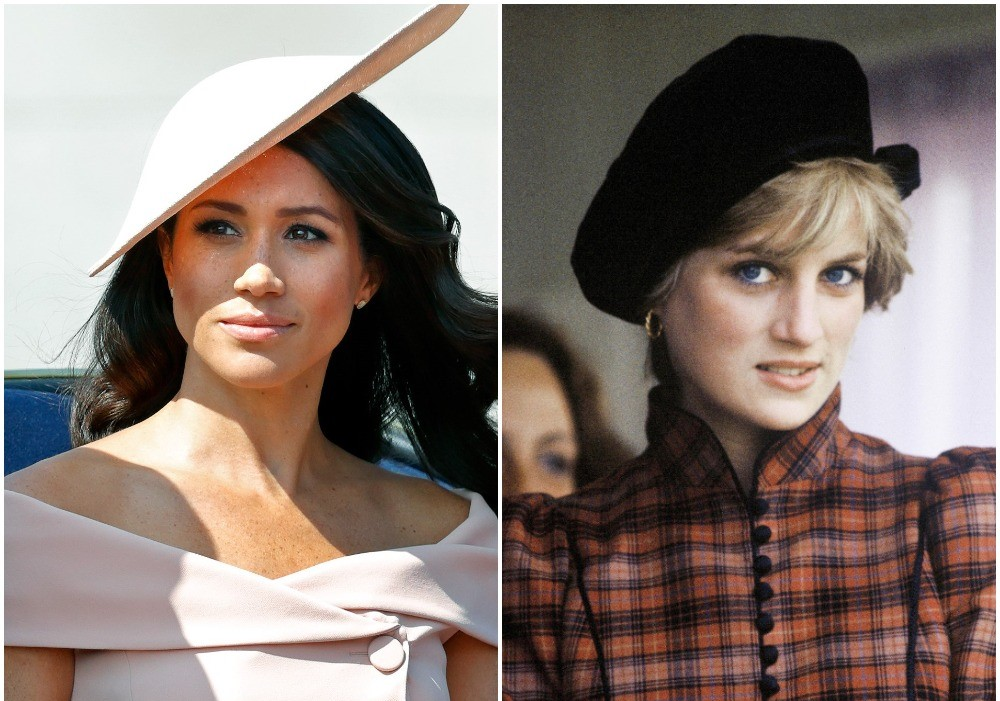 (L) Meghan Markle dressed in a pink hat and fascinator at Trooping The Colour, (R) Princess Diana wearing a tartan dress a black hat at the Braemar Highland Games