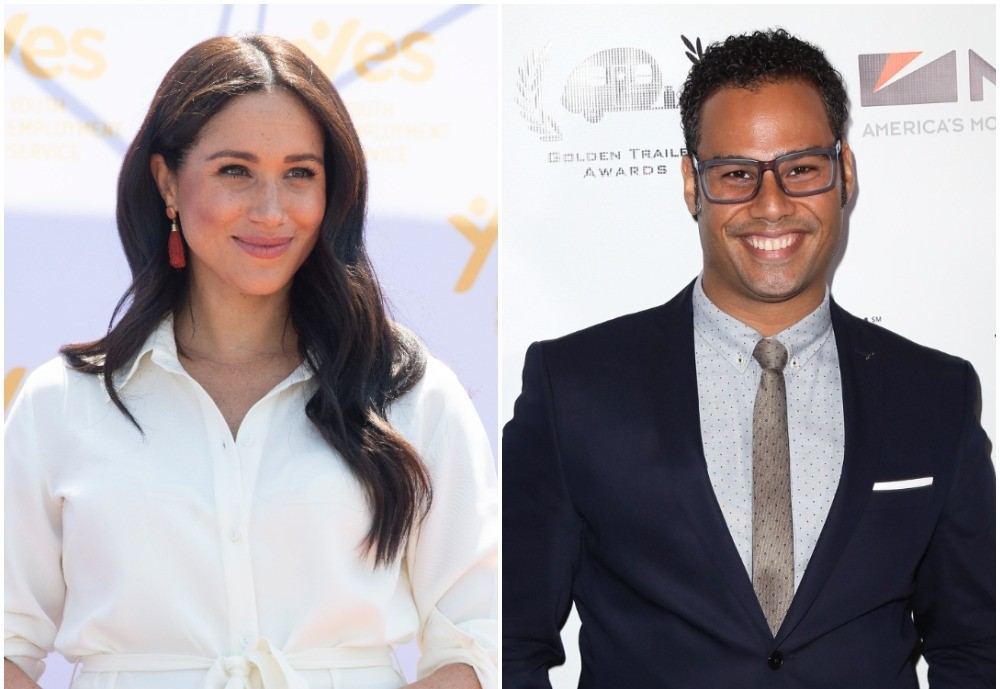 (L) Meghan, Markle wearing a white dress and smiling during visit to Tembisa township in South Africa (R) Actor Joshua Silverstein poses for photo on red carpet at Golden Trailer Awards