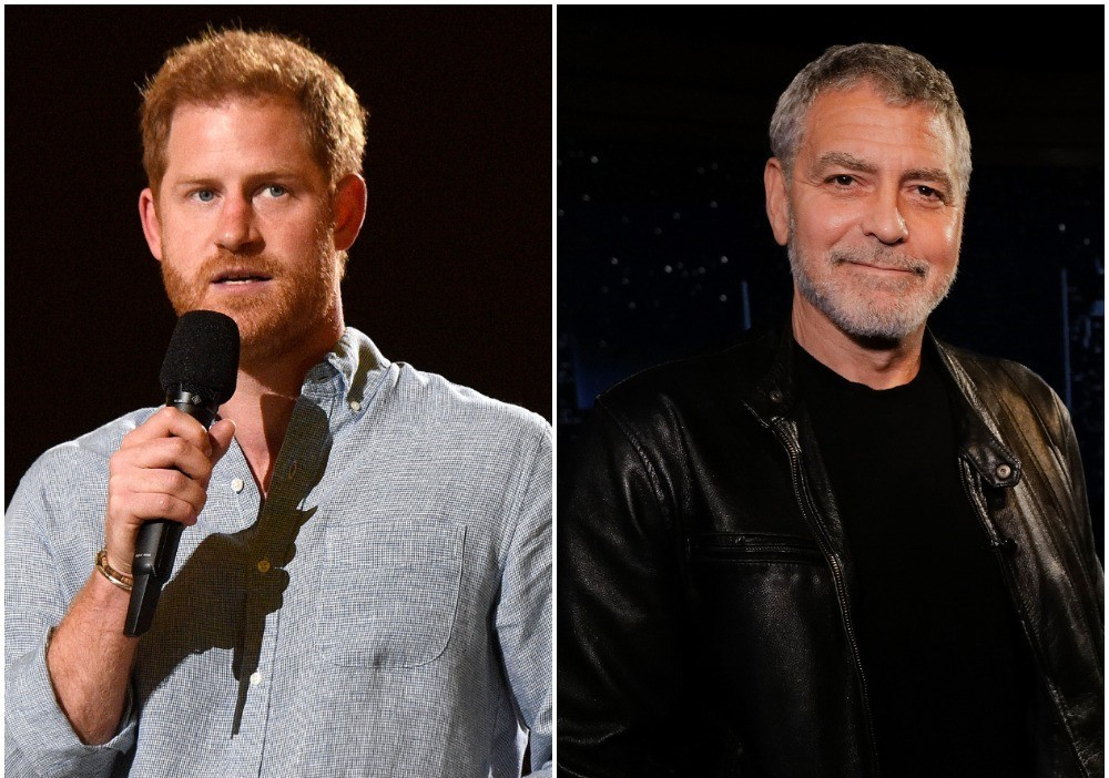 (L): Prince Harry speaking onstage during Global Citizen VAX LIVE concert, (R): George Clooney standing on the set of 'Jimmy Kimmel Live!'