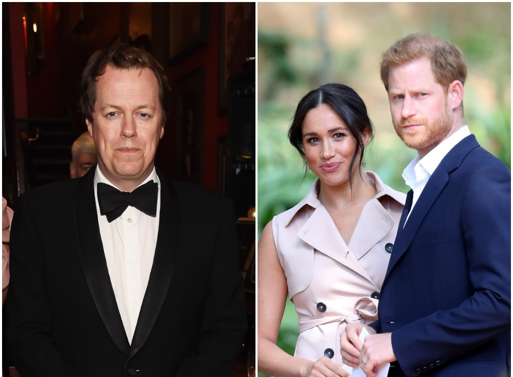 (L) Tom Parker Bowles in a tuxedo at awards ceremony, (R) Meghan Markle wearing a beige dress and Prince Harry wearing a blue suit in Johannesburg, South Africa