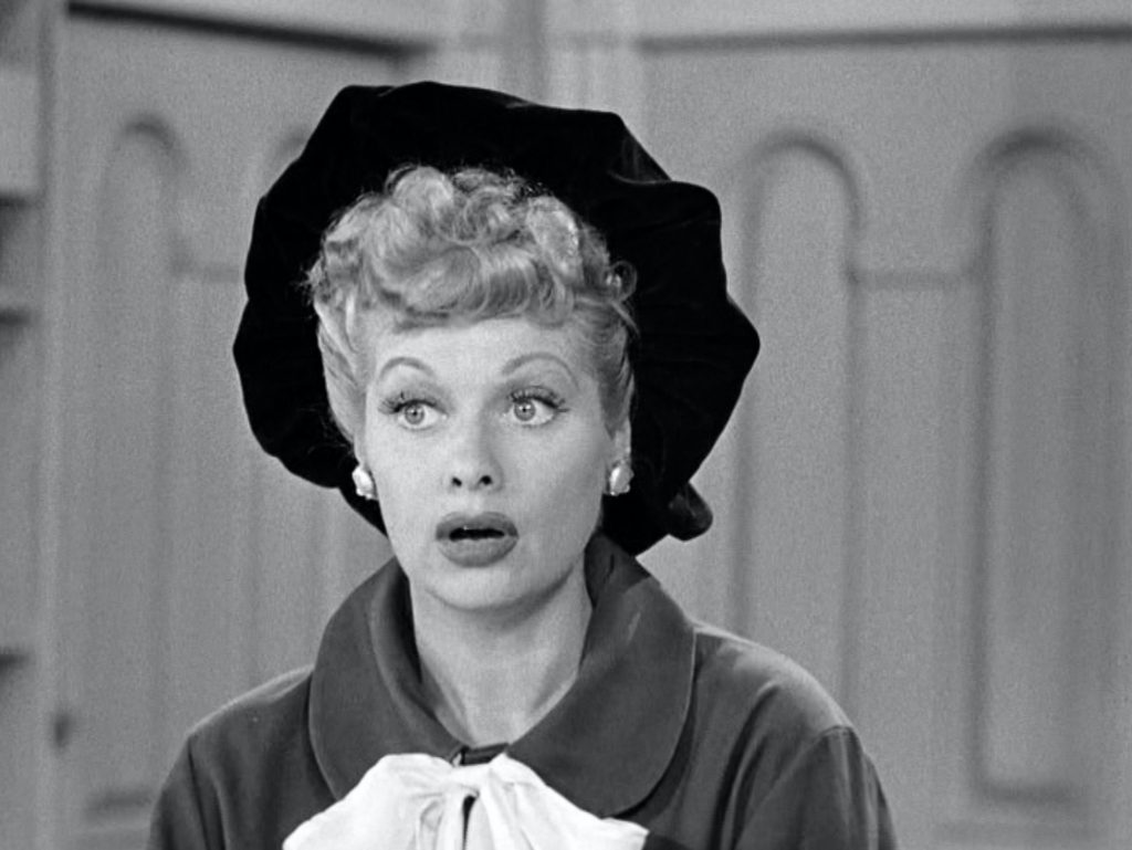 Lucille Ball on 'I Love Lucy', in black and white