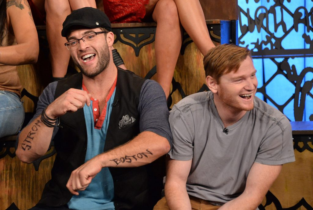 CT Tamburello and Wes Bergmann laughing next to each other at MTV's 'The Challenge: Rivals II' final episode and reunion party