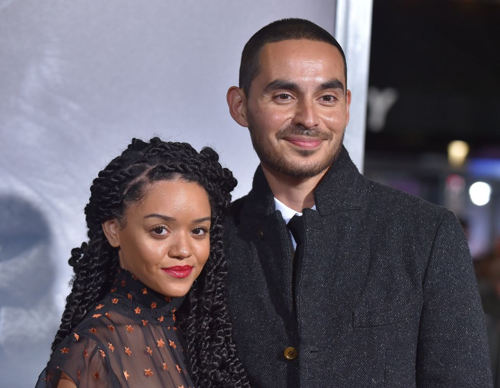 'Good Girls' star Manny Montana is dressed in black and wife Adelfa Mar, dressed in sheer black,r arrive for the premiere of 'The Mule'.