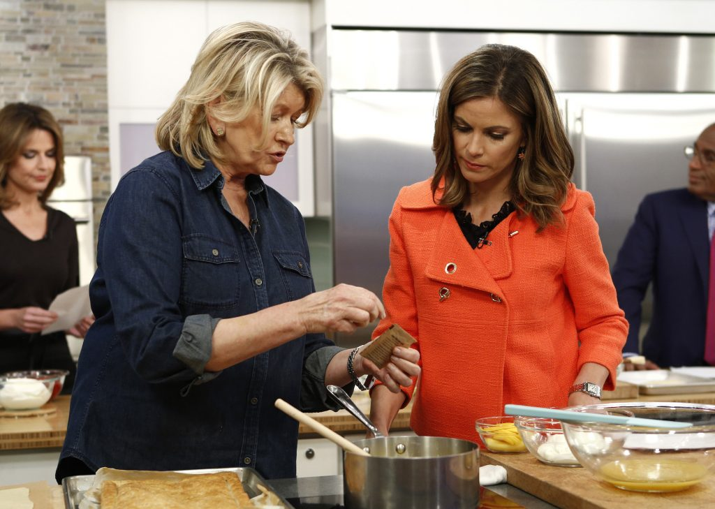 Martha Stewart cooking one of her recipes with Natalie Morales in the kitchen on the 'Today' show