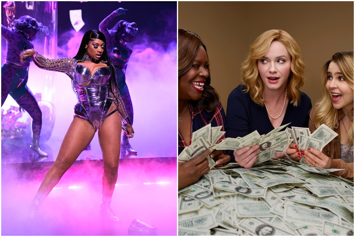 Megan Thee Stallion dancing at the Grammys in a sequined bodysuit/ The 'Good Girls' cast smiling at each other as they hold wads of cash.