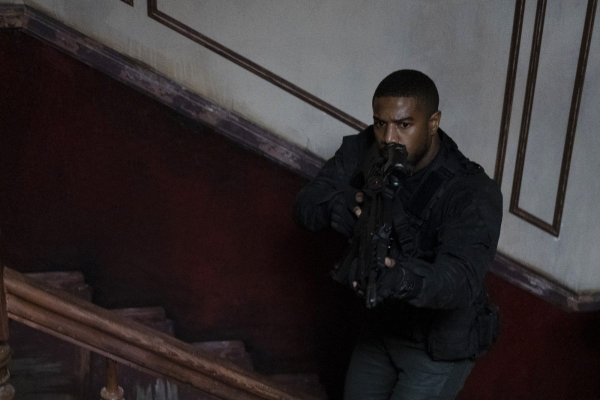 Michael B. Jordan on the stairs in 'Tom Clancy's Without Remorse'