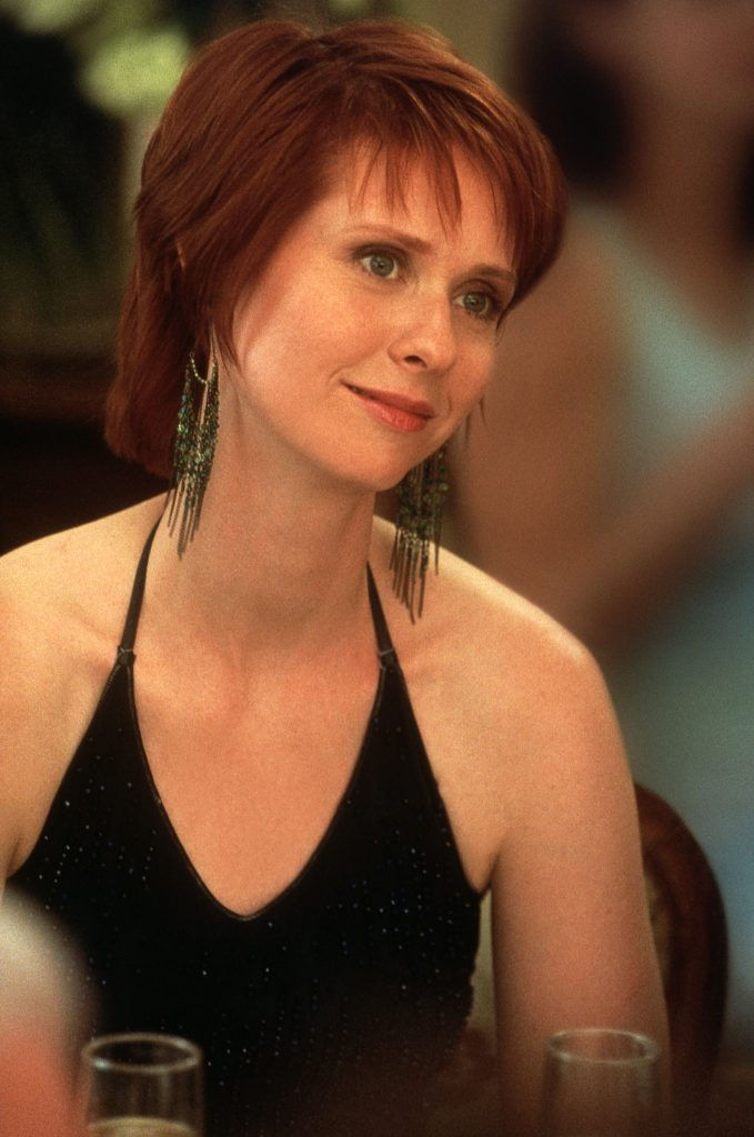 Cynthia Nixon as Miranda Hobbes wears a black halter top during the filming of 'Sex and the City' season 3
