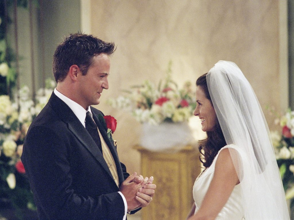 Monica and Chandler get married on Friends