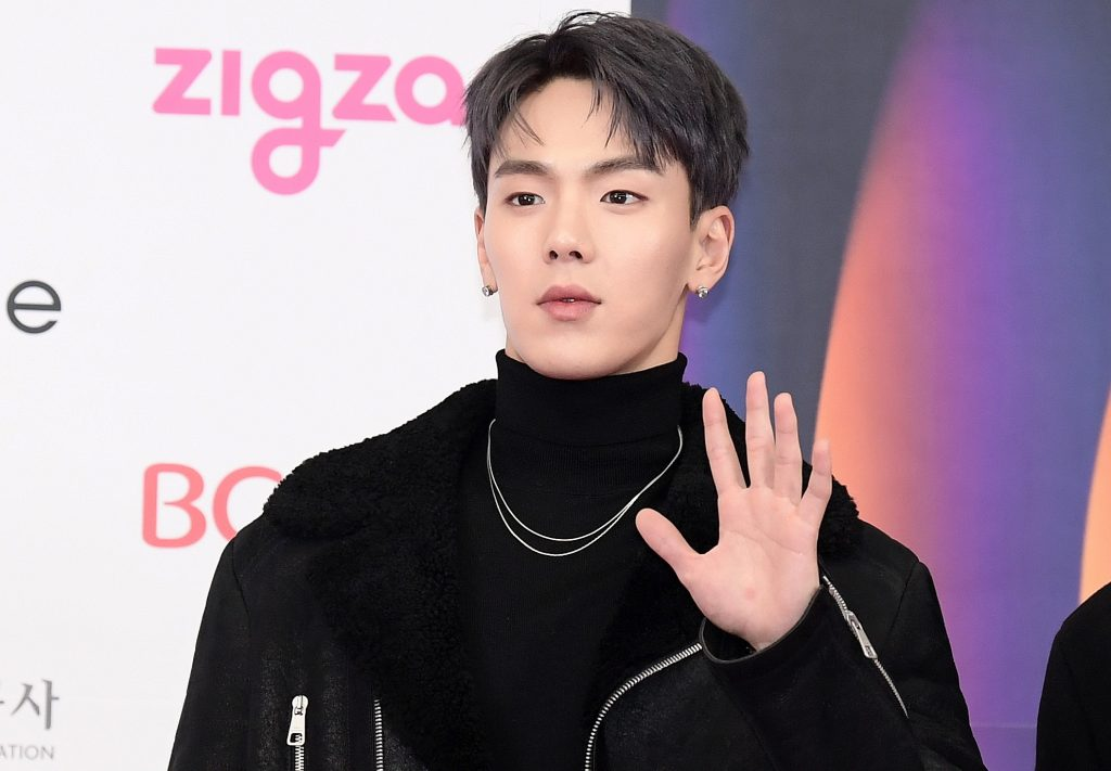 Shownu of MONSTA X waves while attending 2019 SBS Gayo Daejeon