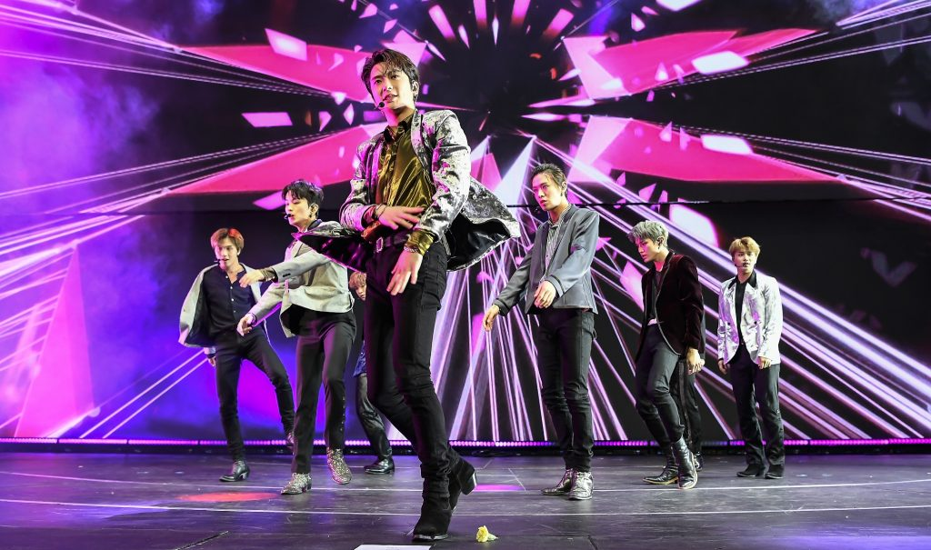 The members of NCT 127 perform at 99.7 NOW! POPTOPIA 2019 Radio show