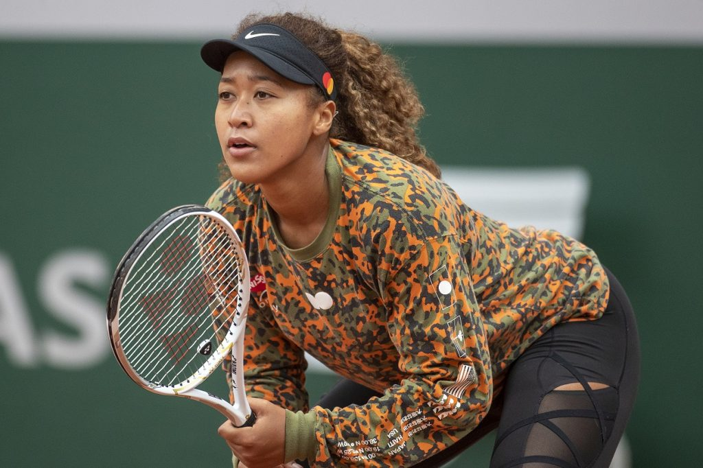 Naomi Osaka playing a practice match for the 2021 French Open