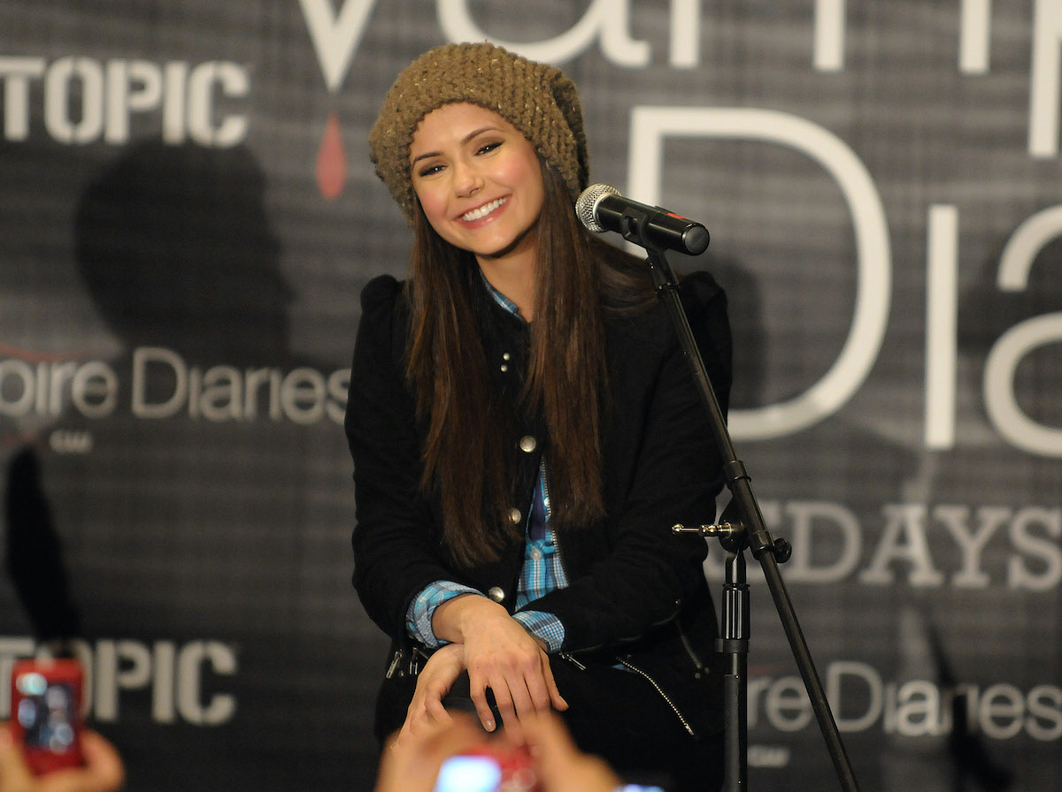 Nina Dobrev answers questions during The Vampire Diaries tour in 2010