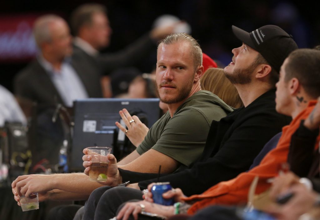 Noah Syndergaard of the New York Mets attends an NBA game