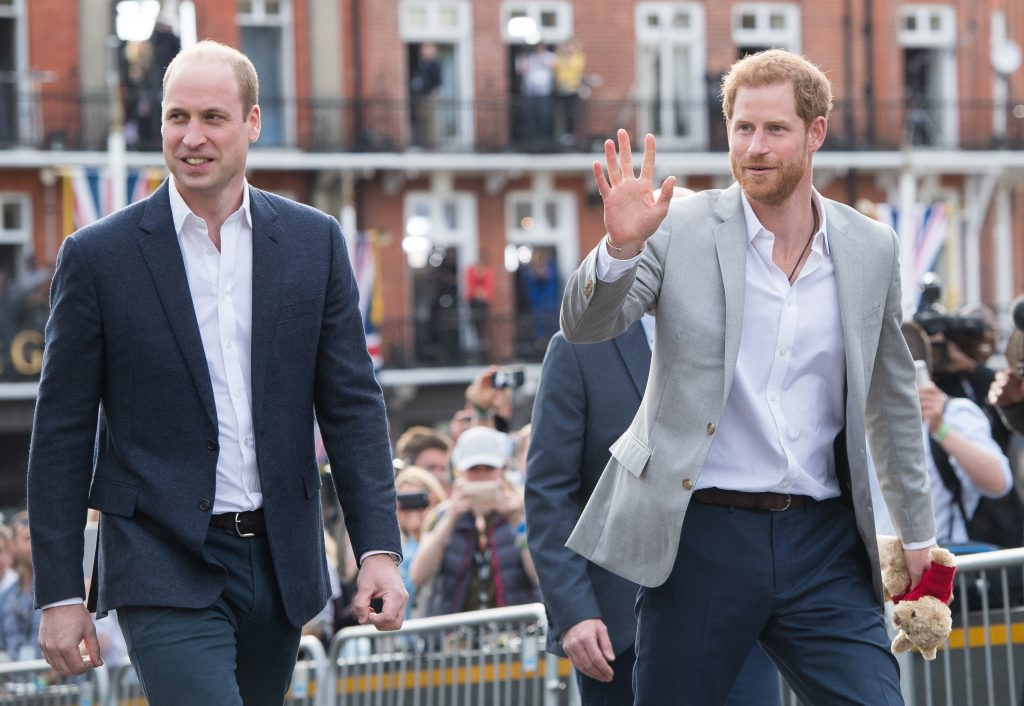 Prince Harry and Prince William meeting the public in Windsor on the eve of Harry's wedding