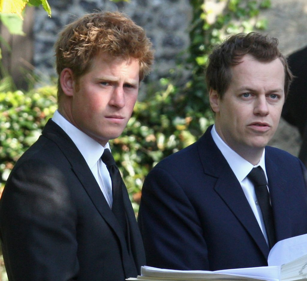 Prince Harry and Tom Parker Bowles next to each other during a Thanksgiving service at St. Mary's Church