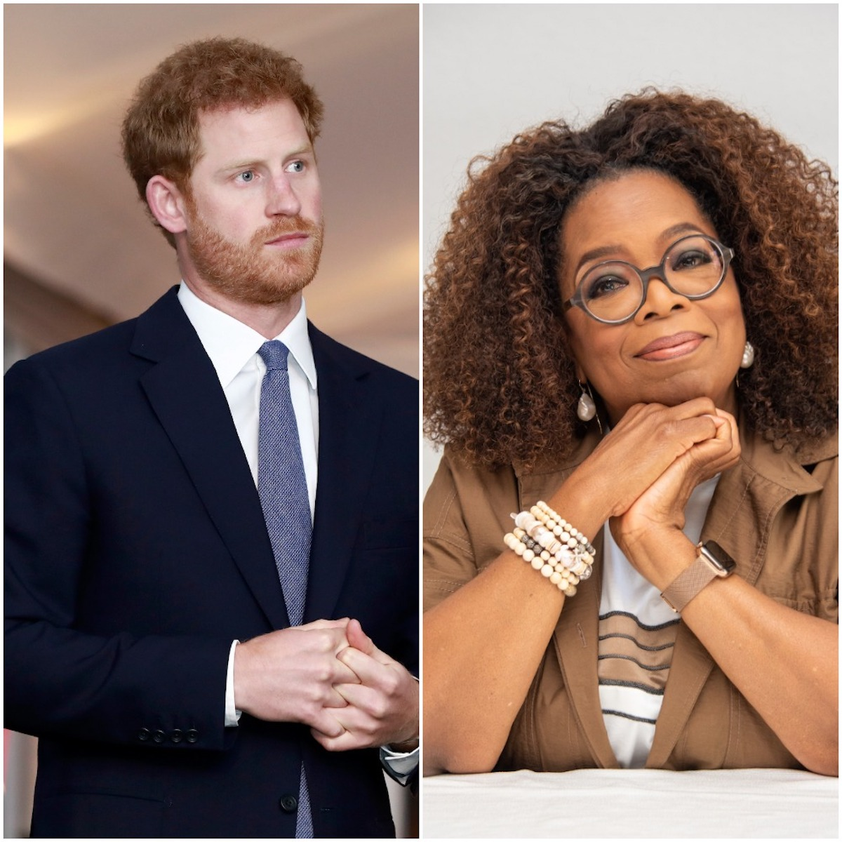 (L-R): Prince Harry clasps his hands together at Landmine Free World 2025 Reception in 2017; Oprah Winfrey puts her hands under her chin at 'David Makes Man' press conference in 2019