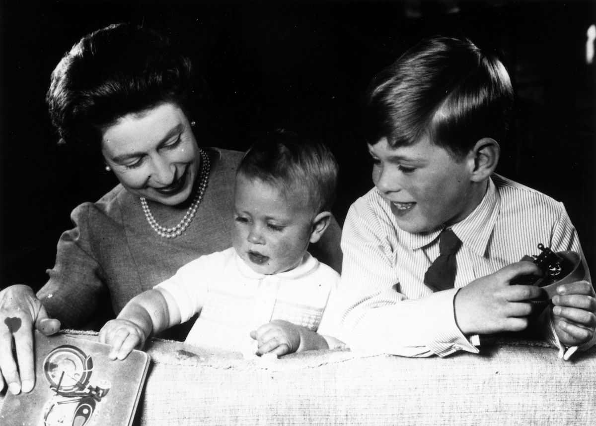 Queen Elizabeth with Princes Edward and Andrew in 1965
