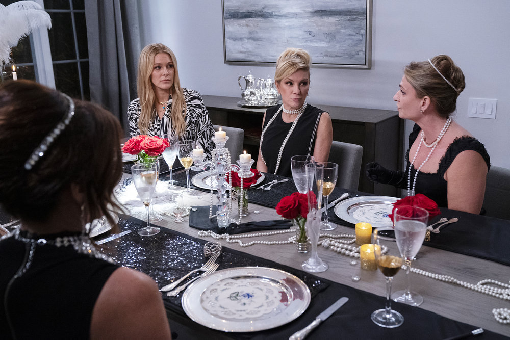 Leah McSweeney, Ramona Singer, Heather Thomson during dinner on The Real Housewives of New York City