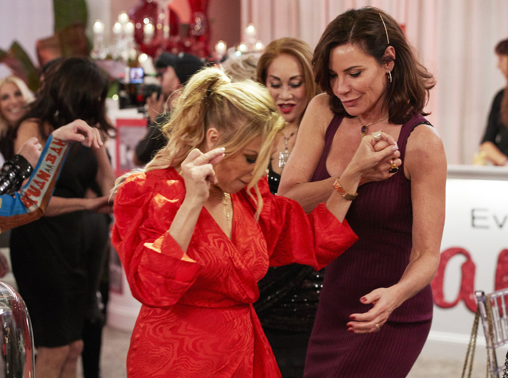 Ramona Singer and Luann de Lesseps dance at Ramona's birthday party