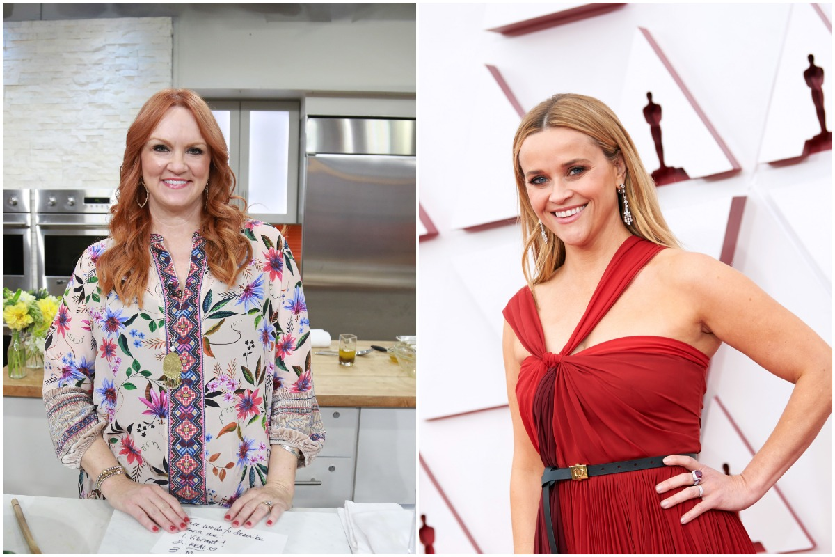 A side-by-side photo of Ree Drummond smiling on the set of 'The Pioneer Woman' and Reese Witherspoon smiling in a red dress on the red carpet.