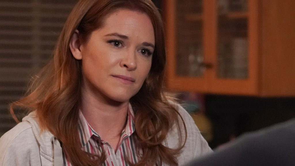 "Sarah Drew as April Kepner looks at Jesse Williams as Jackson Avery in 'Grey's Anatomy' Season 17 Episode 14, ""Look Up Child"""