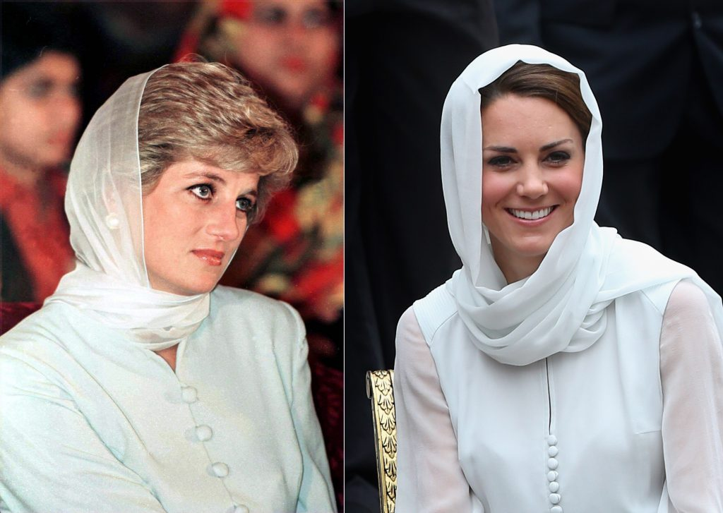 Side-by-side image of Princess Diana and Kate Middleton wearing similar outfits and headscarves during royal visit
