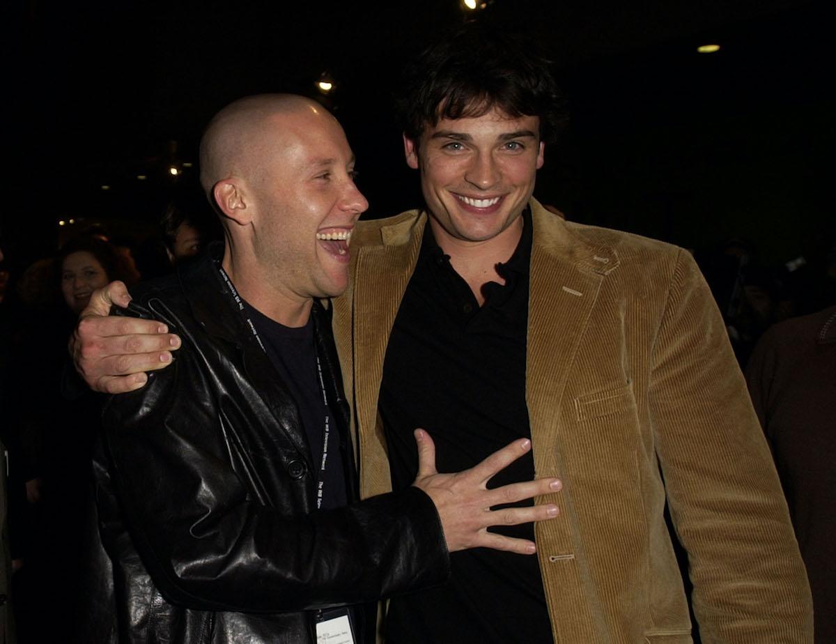 'Smallville' stars Michael Rosenbaum and Tom Welling pose and smile