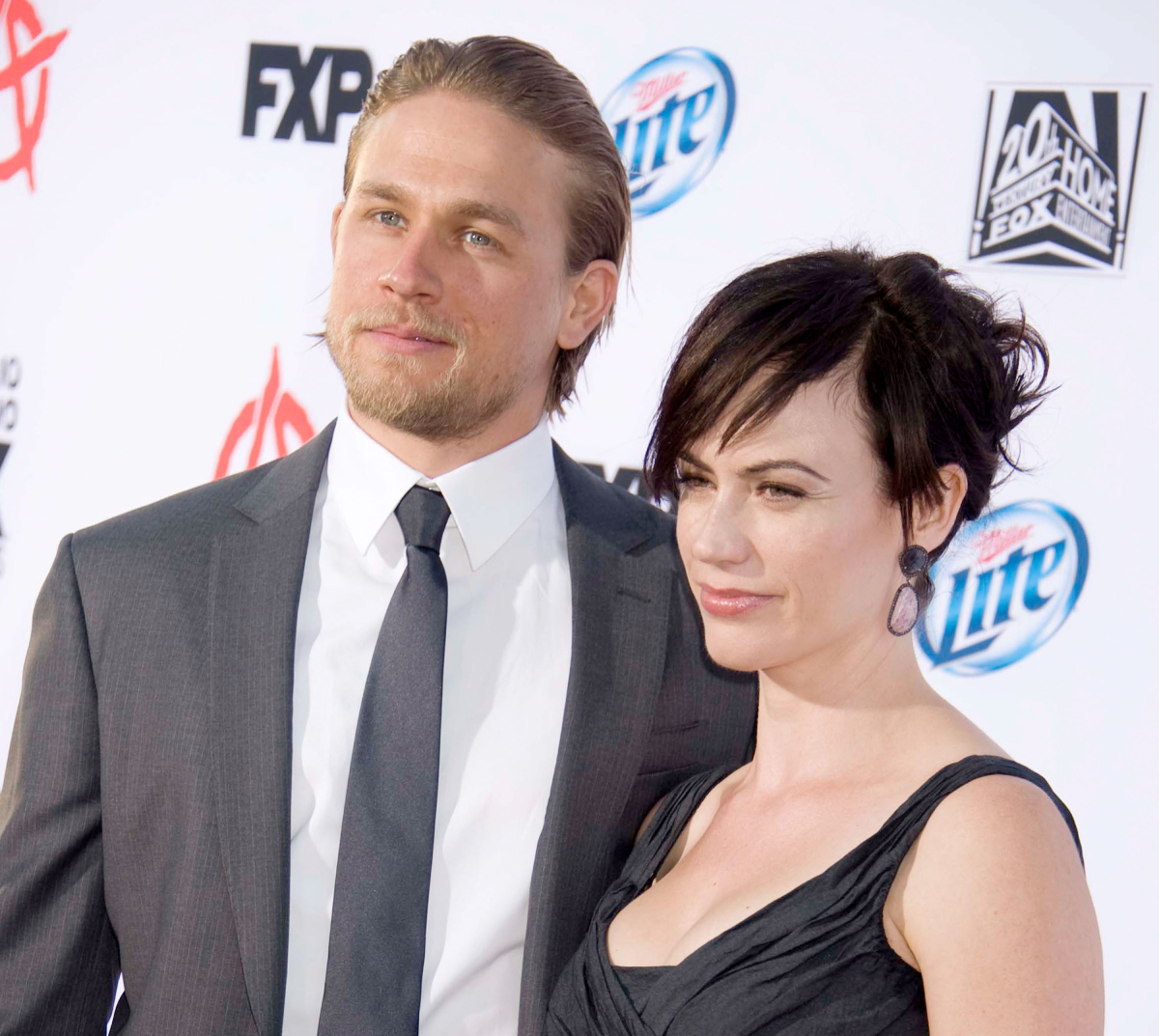 """Charlie Hunnam and Maggie Siff arrive at FX's """"Sons Of Anarchy"""" Season 6 premiere screening at Dolby Theatre on September 7, 2013"""