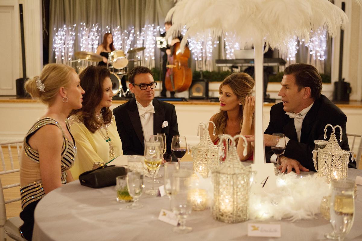 Jennifer Snowden, Patricia Altschul, Whitney Sudler-Smith, Ashley Jacobs, Thomas Ravenel at a party on Southern Charm