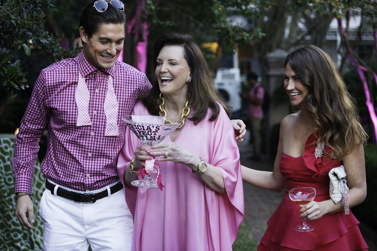 Craig Conover, Patricia Altschul, Landon Clements at a party on Southern Charm