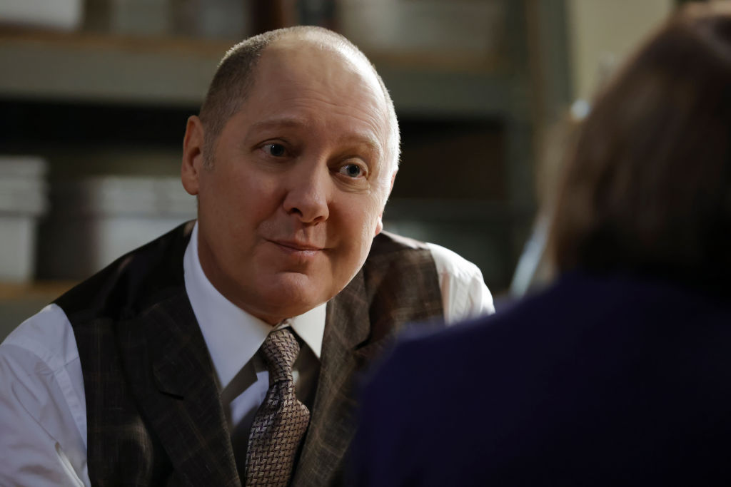 James Spader as Raymond 'Red' Reddington looks over at someone as he sits on season 8 of 'The Blacklist'