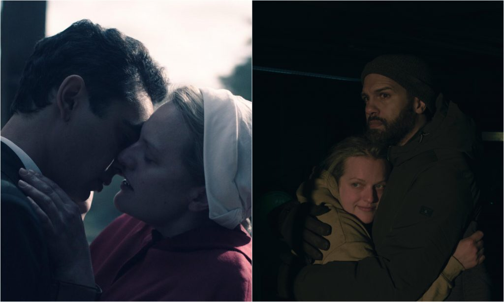 A photo of Nick and June kissing in 'The Handmaid's Tale' beside a photo of June and Luke hugging in 'The Handmaid's Tale'