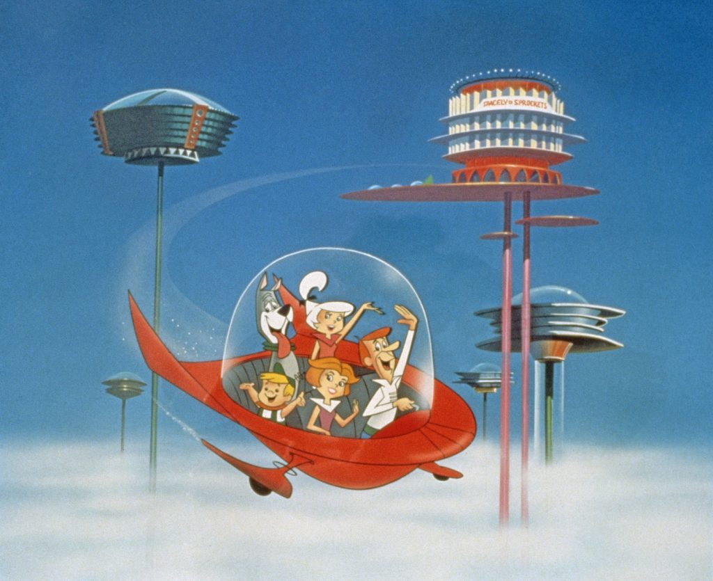 The Jetson family waves as they fly past Orbit City in 'The Jetsons'