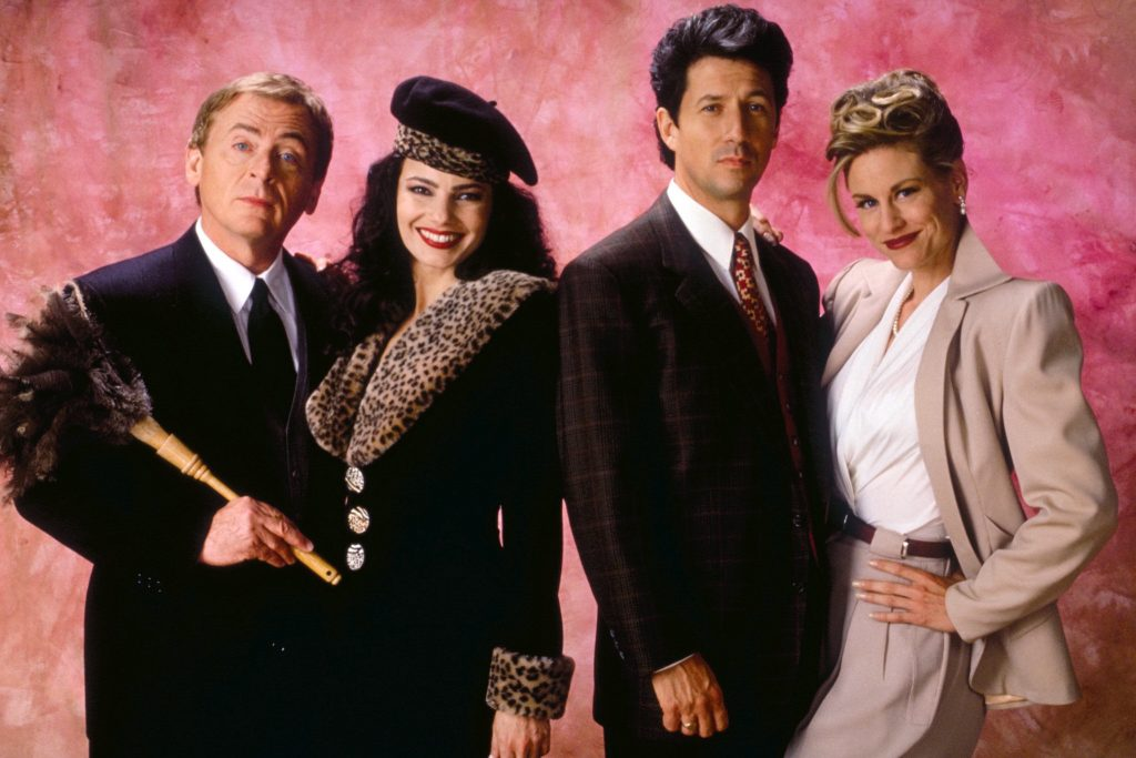 Daniel Davis, Fran Drescher, Charlese Shaughnessy and Lauren Lane pose for a promotional photo for 'The Nanny'