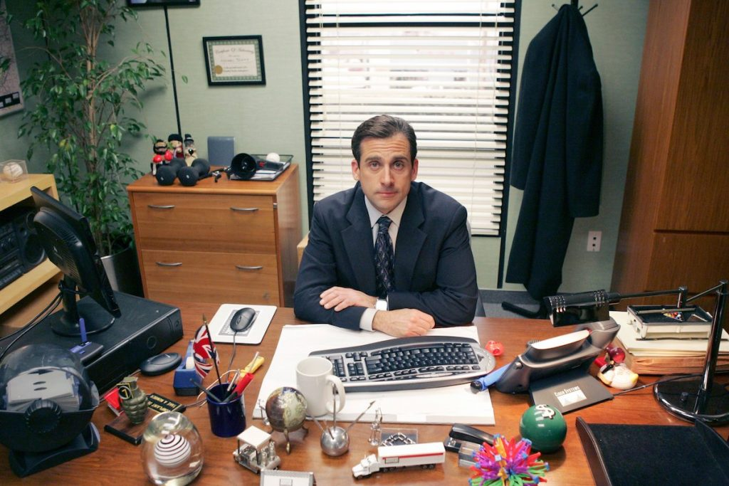 Steve Carell as Michael Scott in 'The Office,' a show influenced by writers and the cast alike