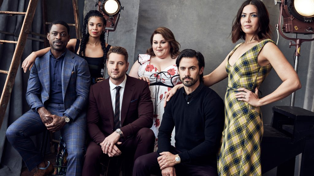 Portrait of 'This Is Us' cast members Sterling K. Brown, Susan Kelechi Watson, Justin Hartley, Chrissy Metz, Milo Ventimiglia, and Mandy Moore
