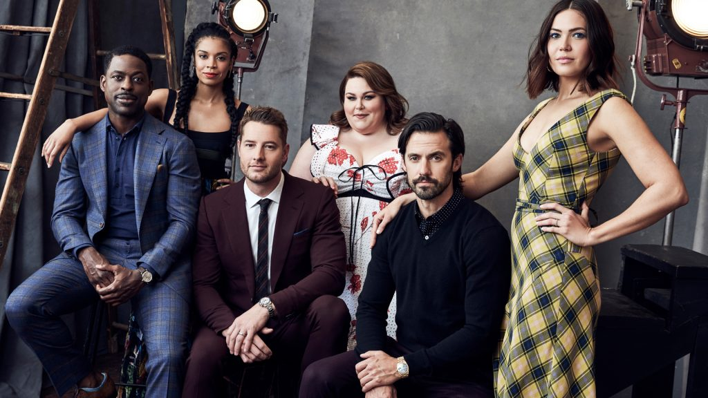 Portrait studio photo of 'This Is Us' cast members Sterling K. Brown, Susan Kelechi Watson, Justin Hartley, Chrissy Metz, Milo Ventimiglia, and Mandy Moore
