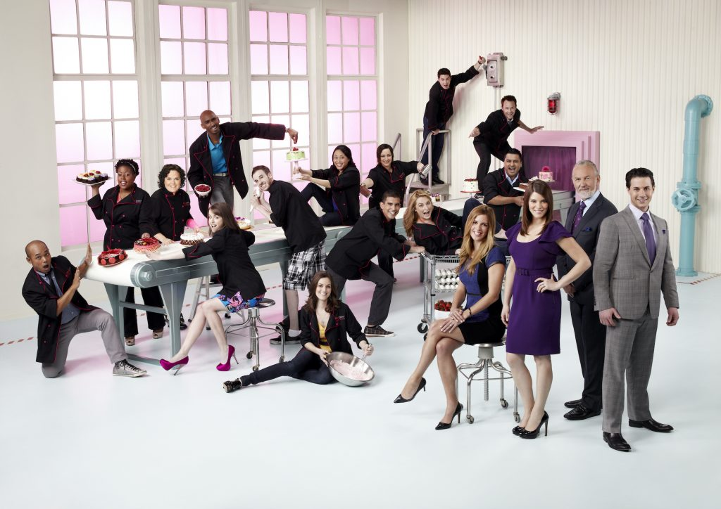 Top Chef: Just Desserts season 2 contestants and judges posing for a promo photo