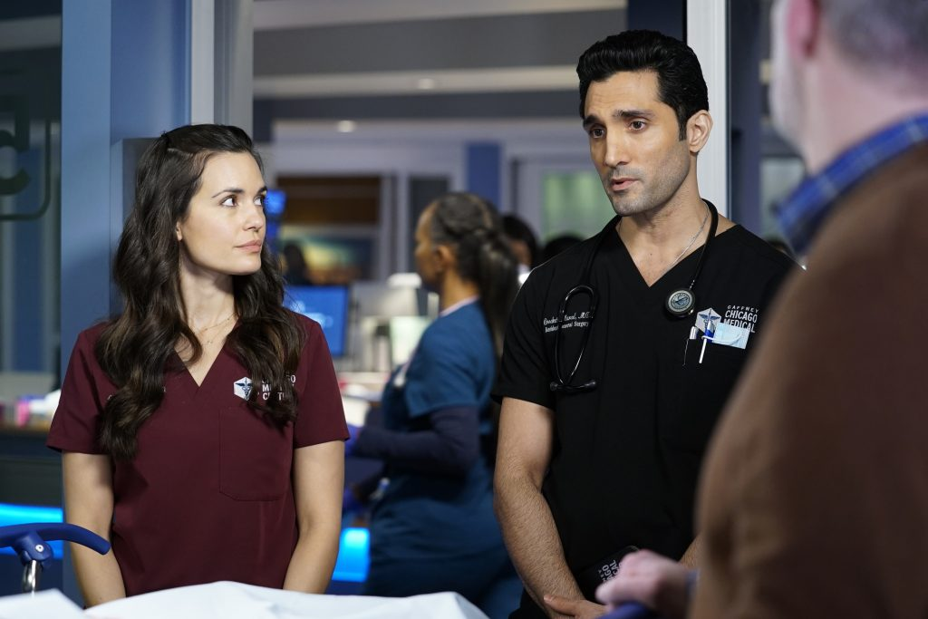 Torrey DeVitto as Natalie Manning and Dominic Rains as Crockett Marcel on 'Chicago Med'