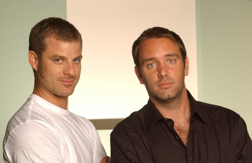 Trey Parker and Matt Stone pose for a photo