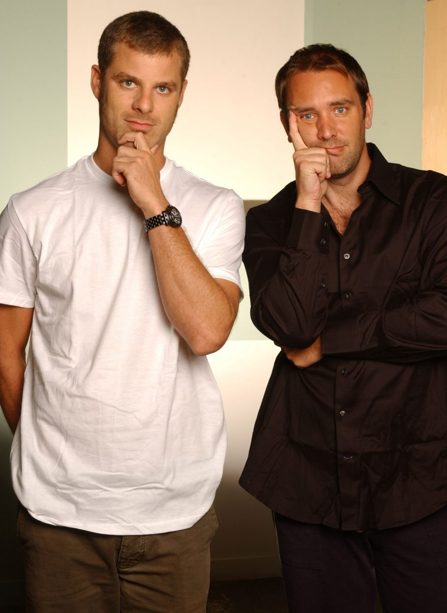 Trey Parker and Matt Stone hold their heads pensively