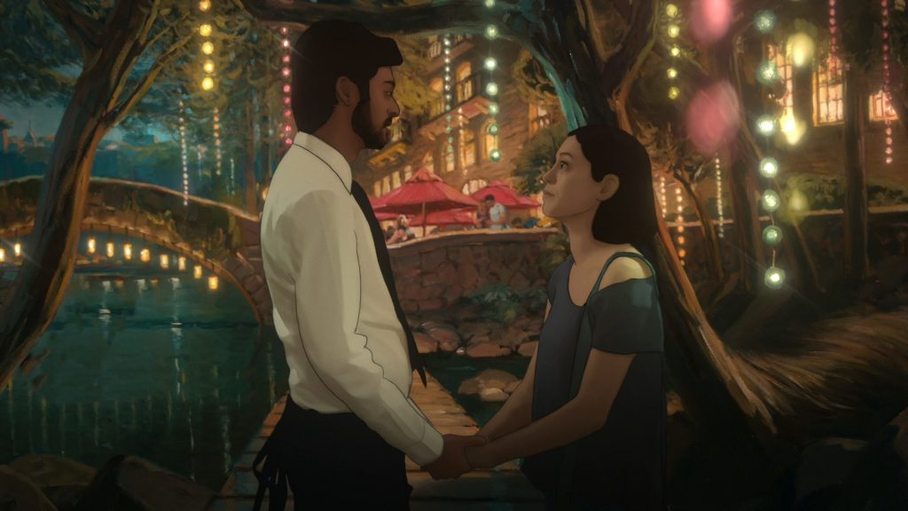 Two characters from 'Undone' standing in front of a bridge with lights hanging