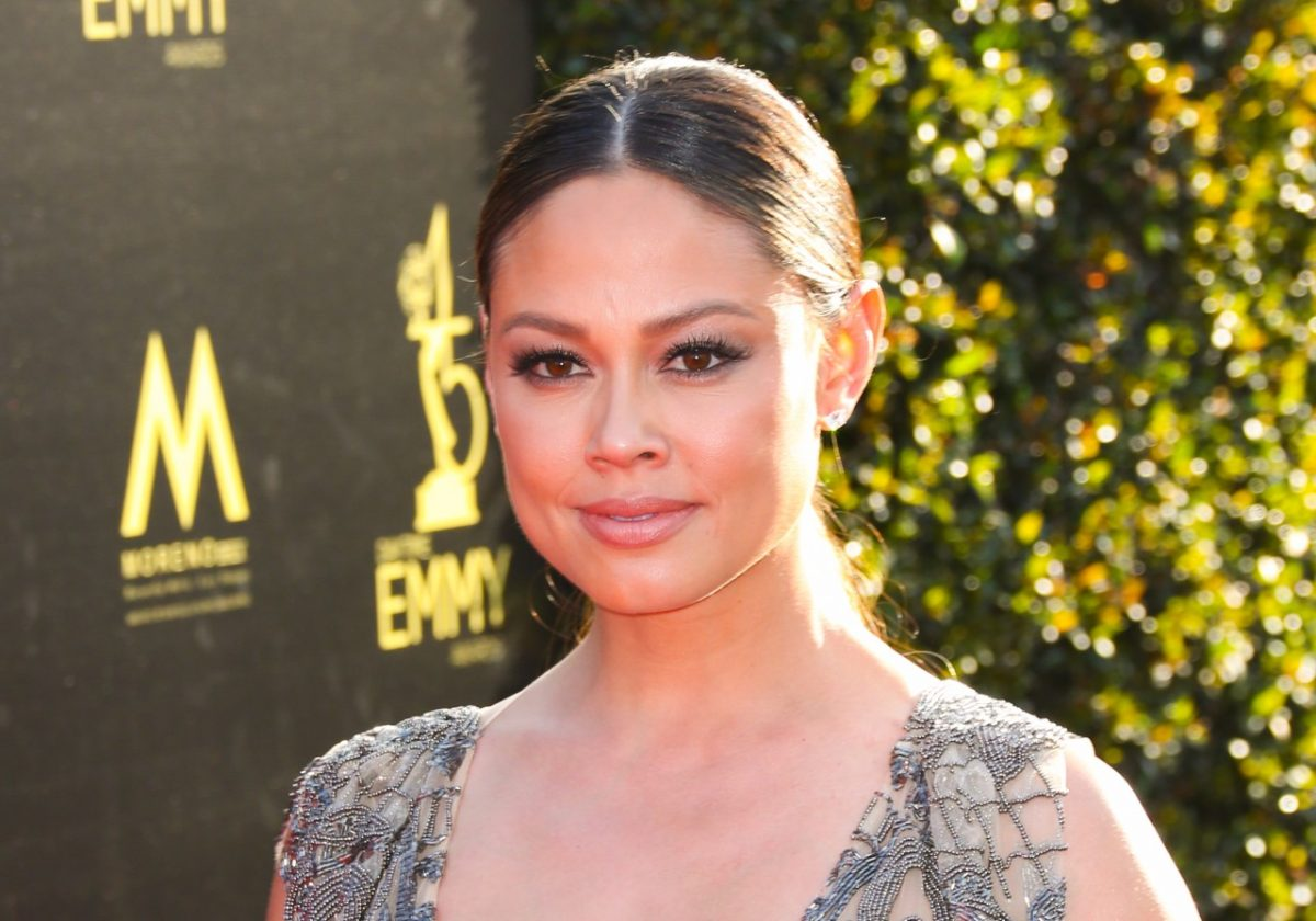 Vanessa Lachey on the red carpet at the 45th Annual Daytime Creative Arts Emmy Awards at the Pasadena Civic Auditorium in 2018