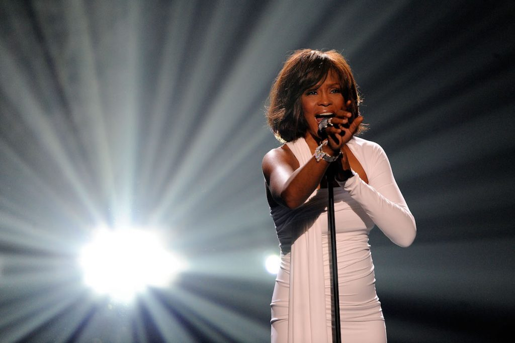 Whitney Houston onstage at the 2009 American Music Awards at Nokia Theatre L.A. Live on November 22, 2009 in Los Angeles, California.