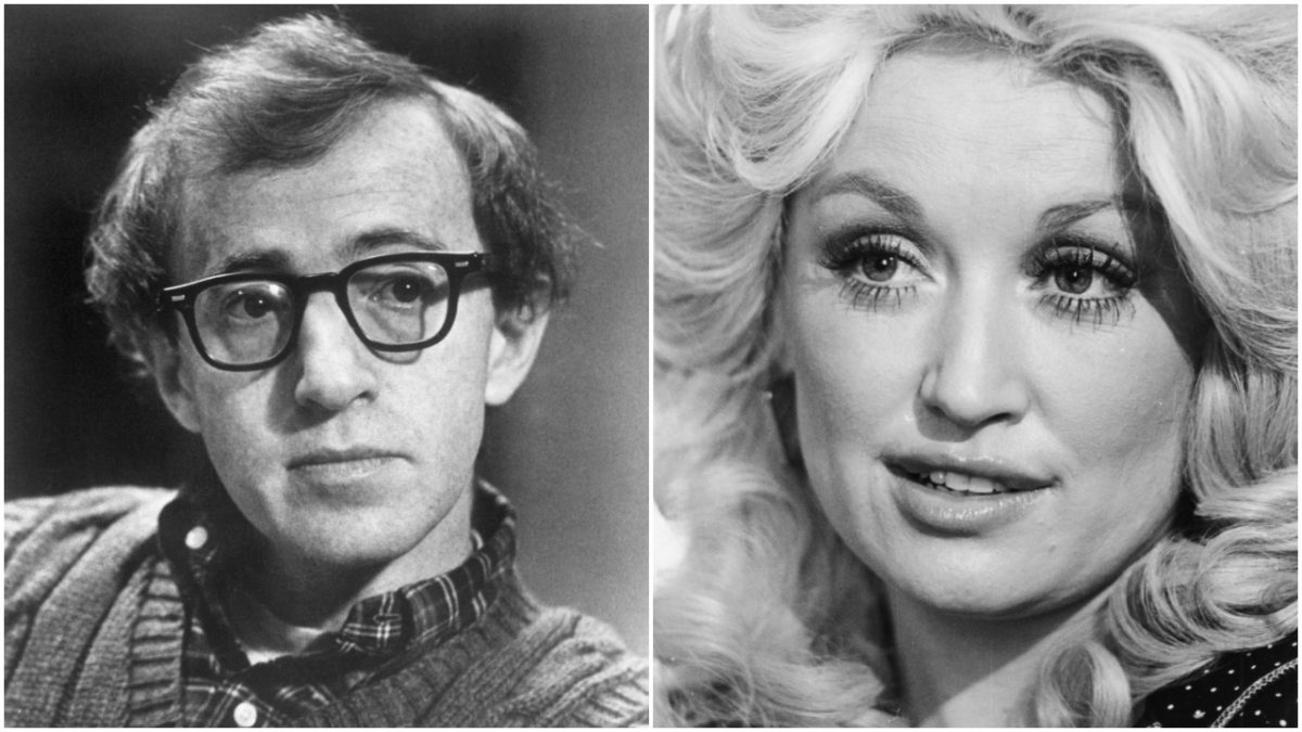 A black and white photo of Woody Allen next to a black and white photo of Dolly Parton