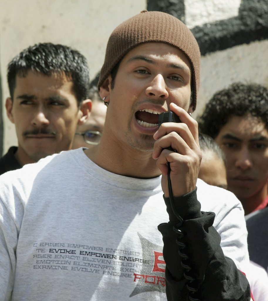 MTV's 'The Challenge' star Yes Duffy speaks during a 'Rally Against Tobacco' in 2005