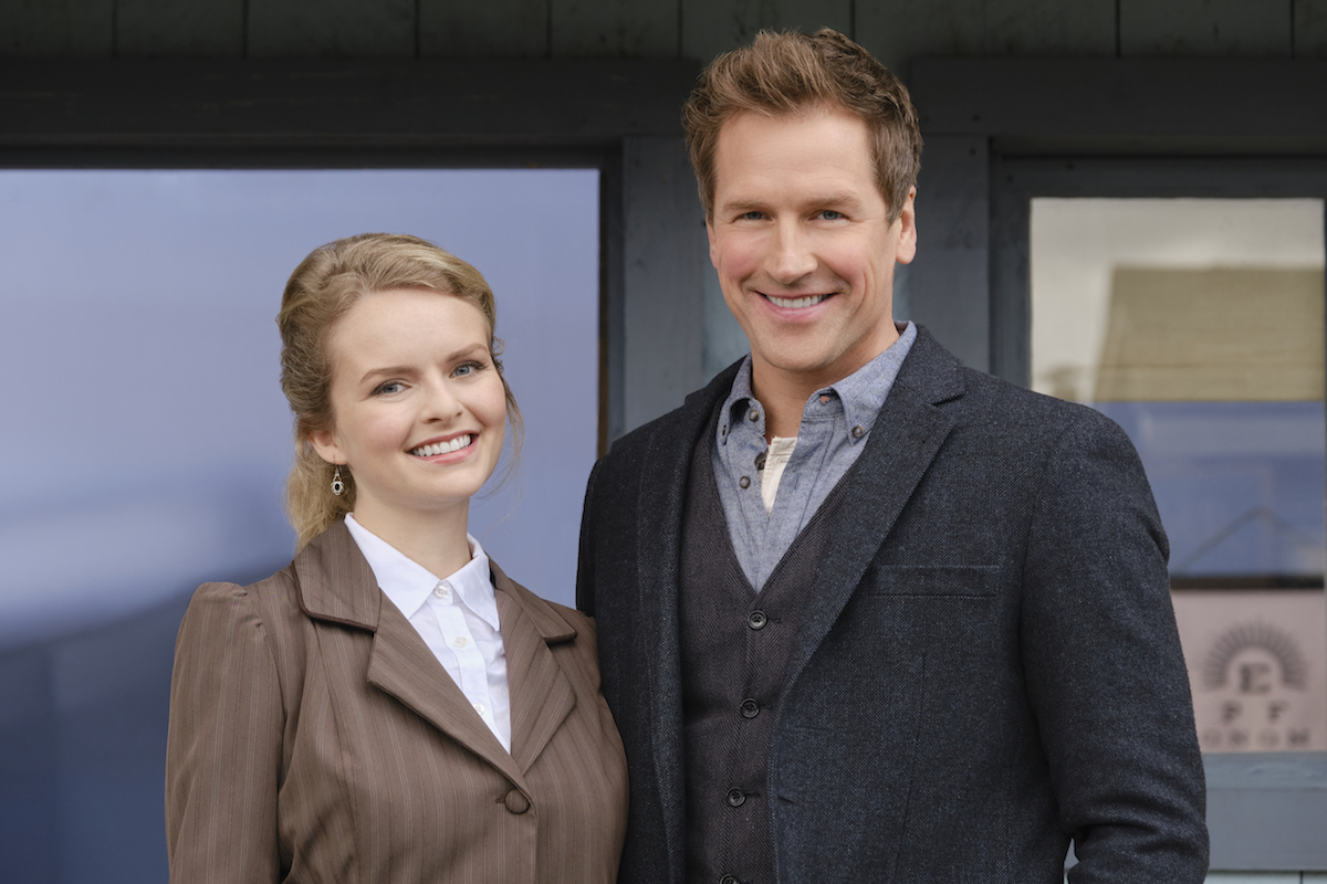 Smiling Andrea Brooks and Paul Greene in When Calls the Heart