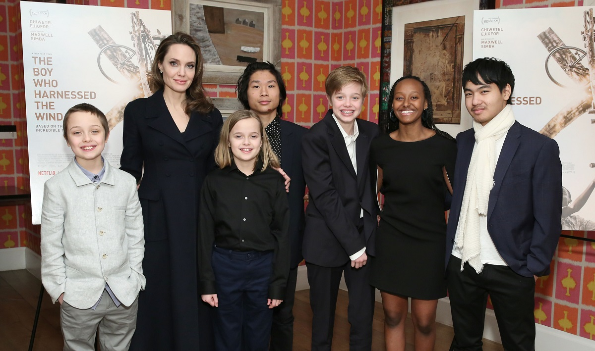Angelina Jolie with children Knox, Vivienne, Pax, Shiloh, Zahara, and Maddox on February 25, 2019, in New York City.