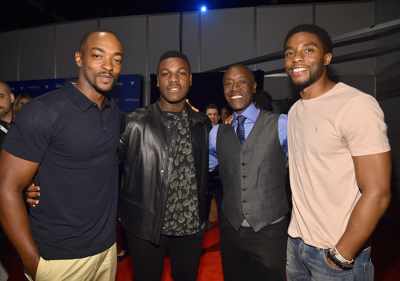 (L-R) Anthony Mackie, John Boyega, Don Cheadle, and Chadwick Boseman at Disney's D23 EXPO 2017