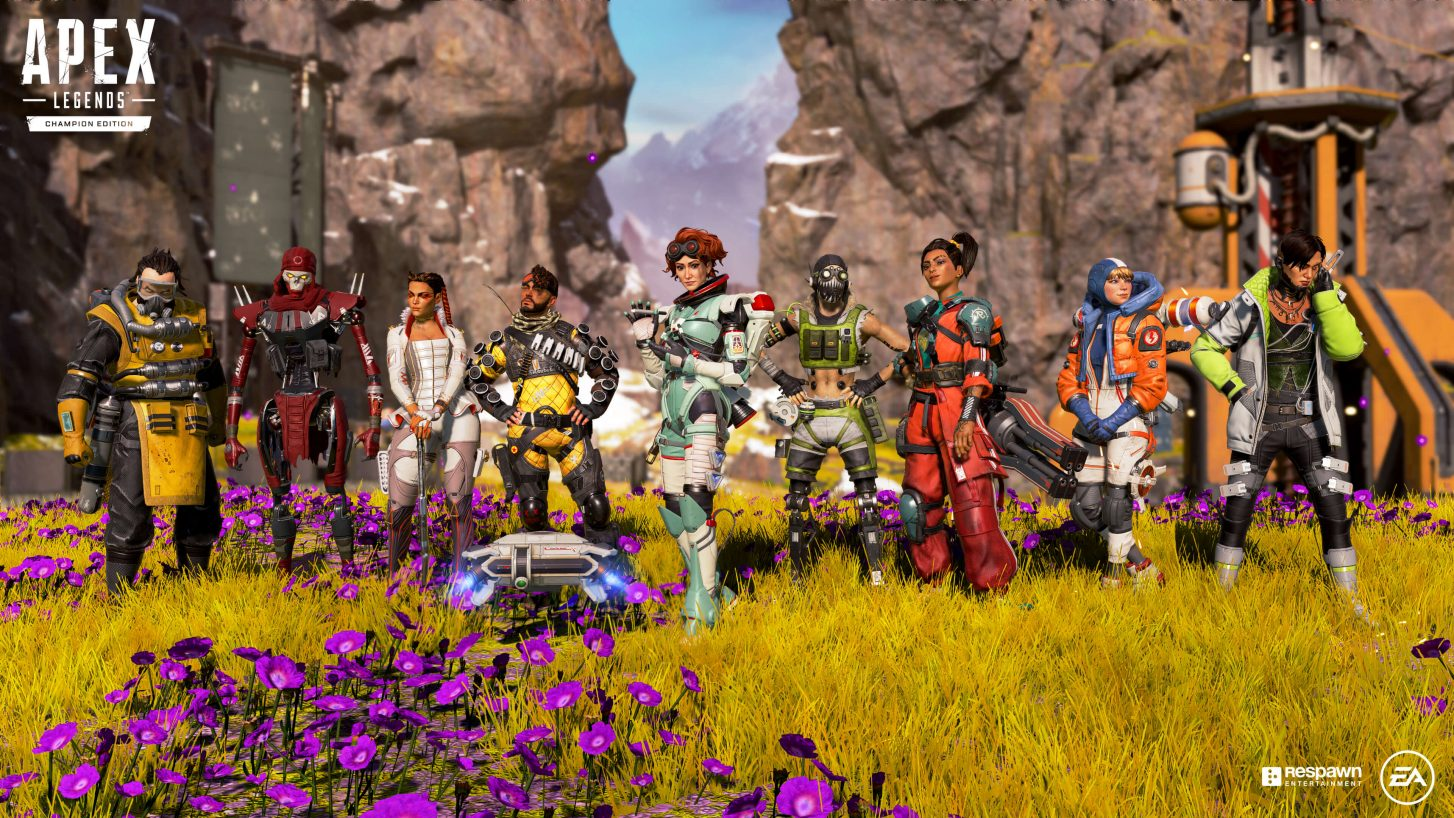 (L-R) Caustic, Revenant, Loba, Mirage, Horizon, Octane, Rampart, Wattson, and Crypto from Respawn Entertainment's Apex Legends